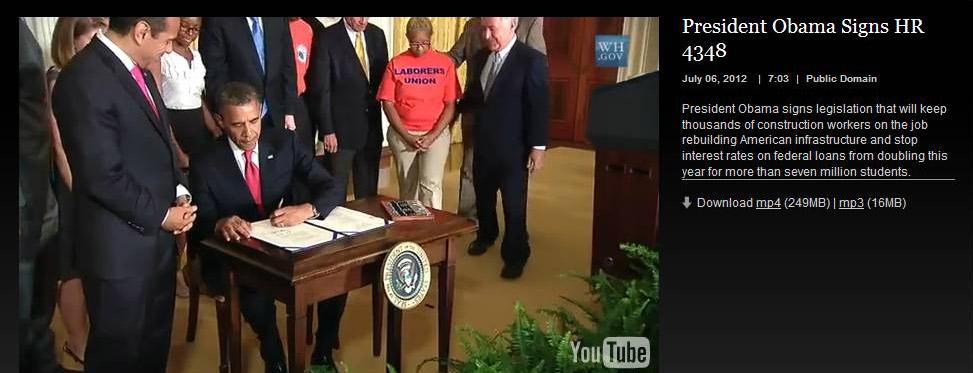 Screen shot of President Barack Obama signing Surface Transportation Bill that includes 'America Fast Forward' credit: www.whitehouse.gov/live