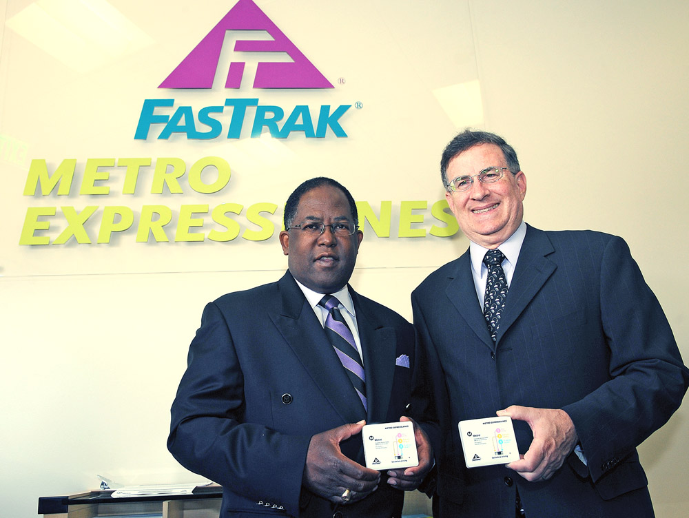 LA County Supervisor and Metro Board Member Mark Ridley-Thomas and Metro Board member/Duarte Mayor John Fasana with their transponders. Photos by Juan Ocampo.