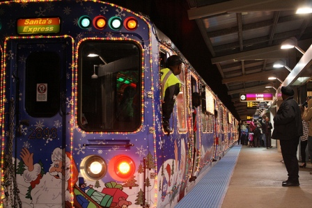 CTA Holiday Train, Belmont Station, Chicago. Photo by CTA SMALL 8248719168_123a3a7806_z
