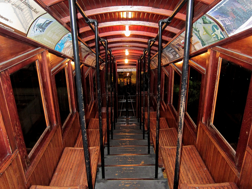 Inside an Angels Flight rail car. Photo by DB's travels via Flickr Creative Commons