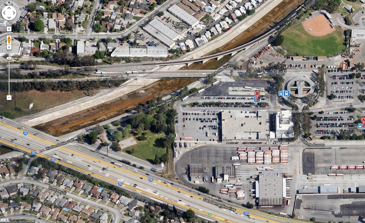 A view of the Rio Hondo Bikeway and the old El Monte station from Google Maps.
