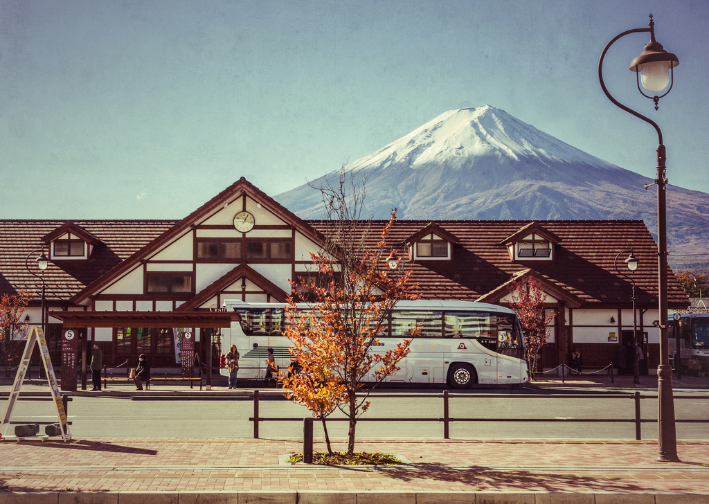 ART OF TRANSIT: Kawaguchiko Station in Japan with Mt. Fuji in the background. Photo by Les Taylor, via Flickr creative commons.