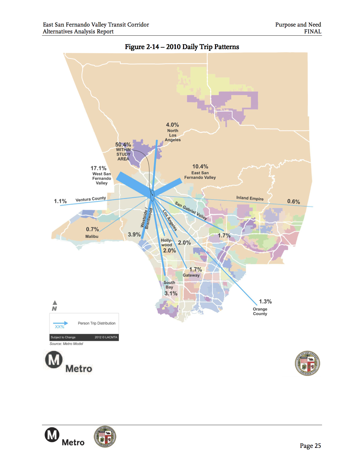 This map shows where transit-goers are headed in the San Fernando Valley and beyond. Click above to see larger.