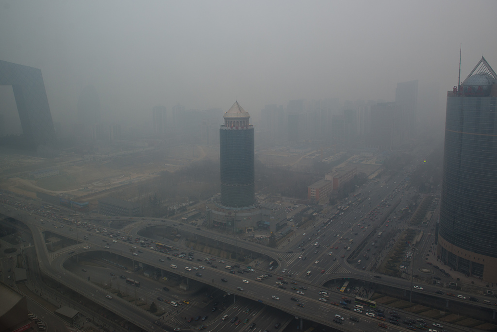 A photo of Beijing's smog taken on Monday after it had improved a bit from Saturday's high levels. Photo by Infinite Jeff, via Flickr creative commons.