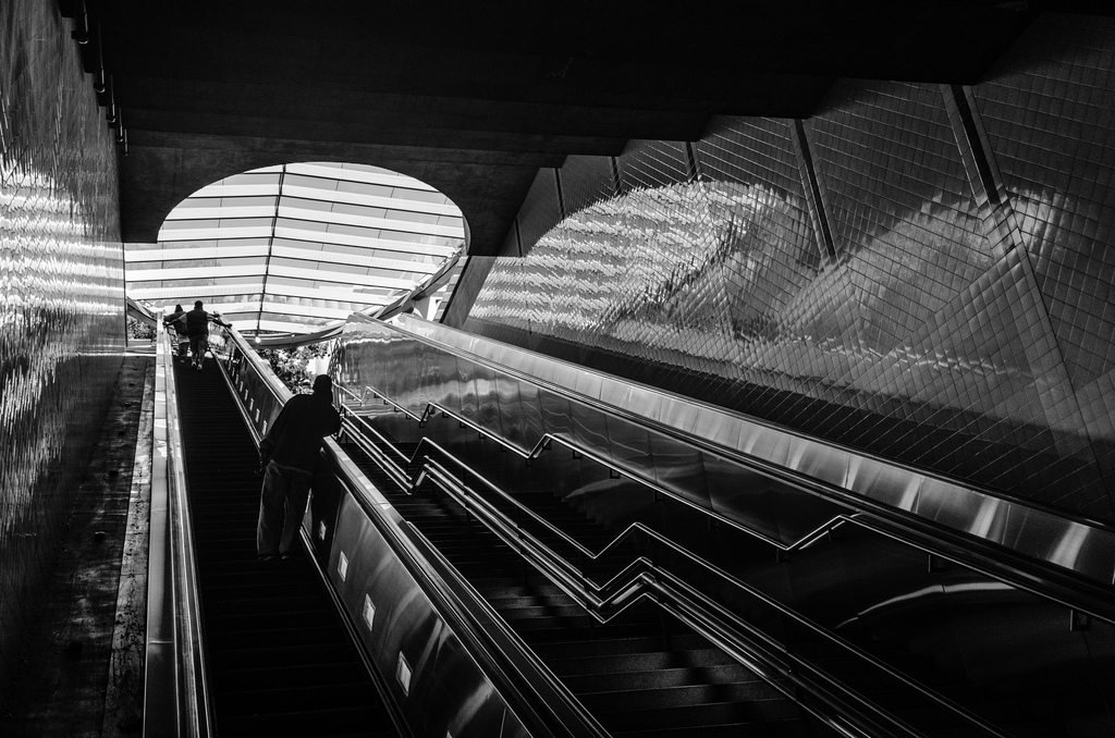 ART OF TRANSIT: Well, I've become what I once beheld, succumbing to the temptation to take photos of escalators in transit stations. This is the Red/Purple Lines Civic Center Station with the nearly completed canopy seen above. Photo by Steve Hymon/Metro.