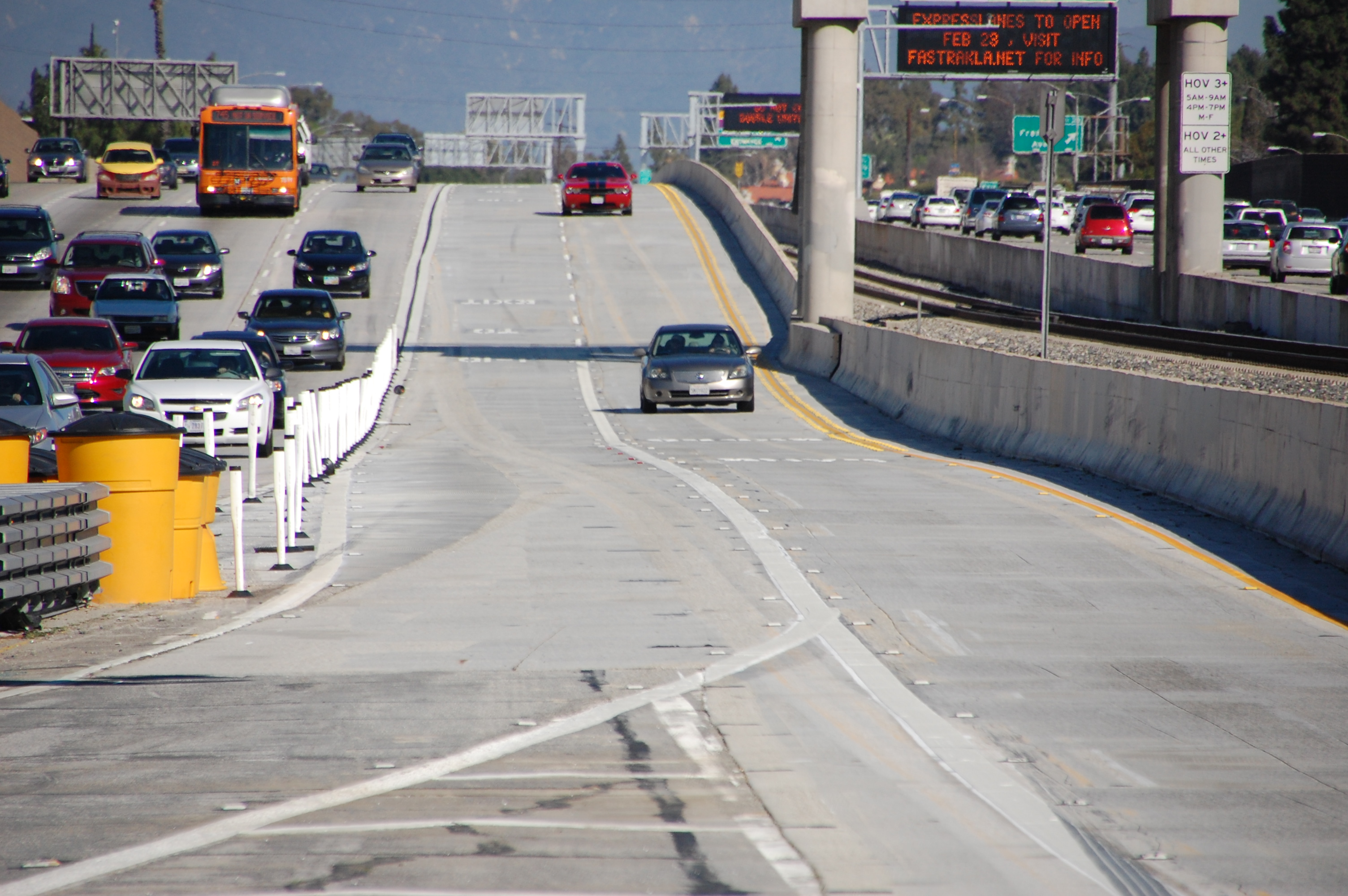 A view of the new ExpressLanes from the 101/10 junction. Photo by Metro.