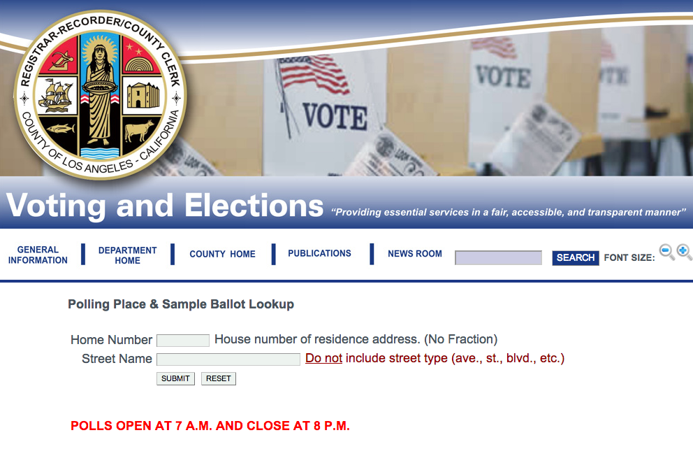 Click above to find your polling place if you live in the city of Los Angeles.