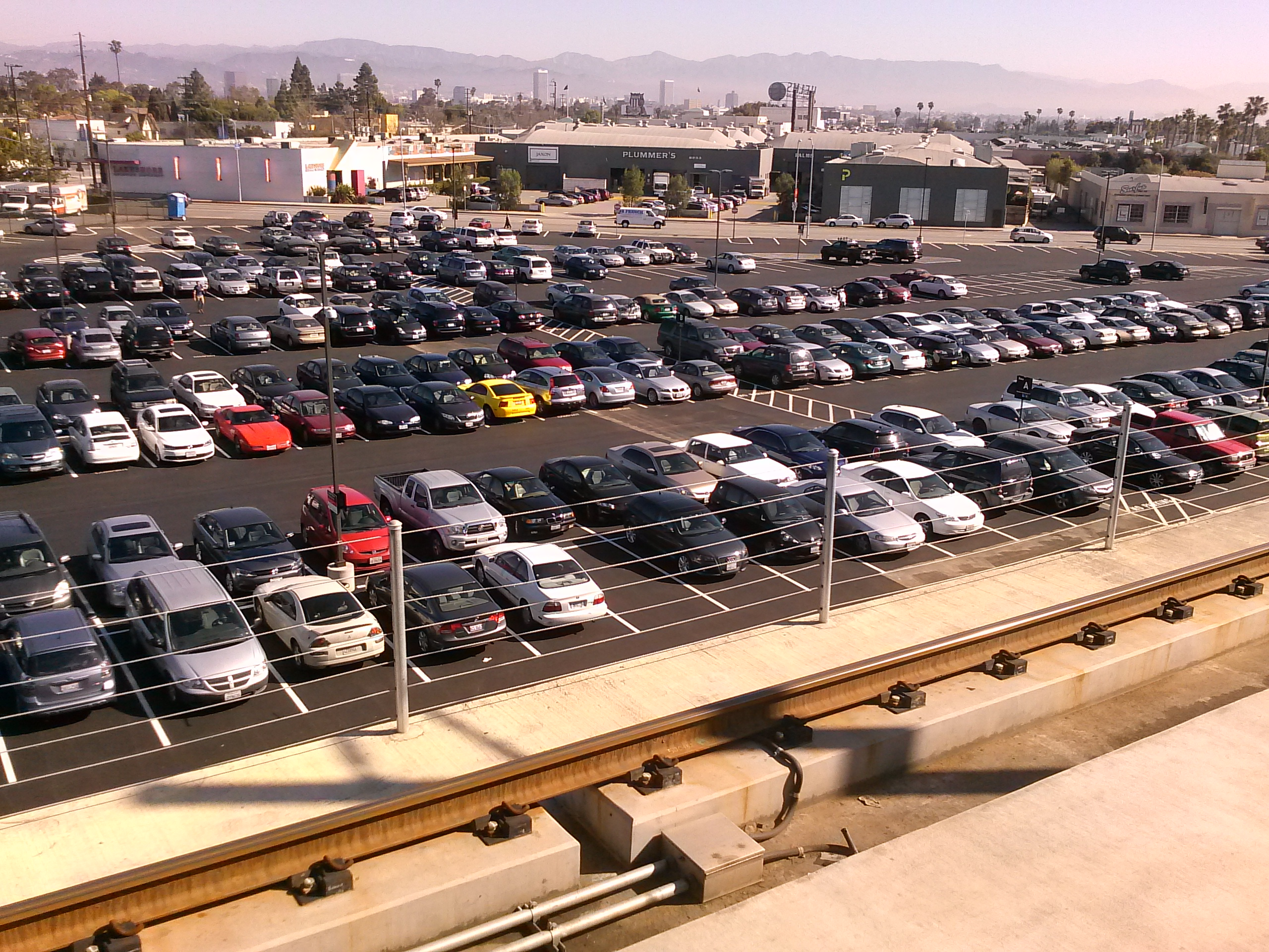 A view of the paved parking lot from the train platform. Photo by Metro.