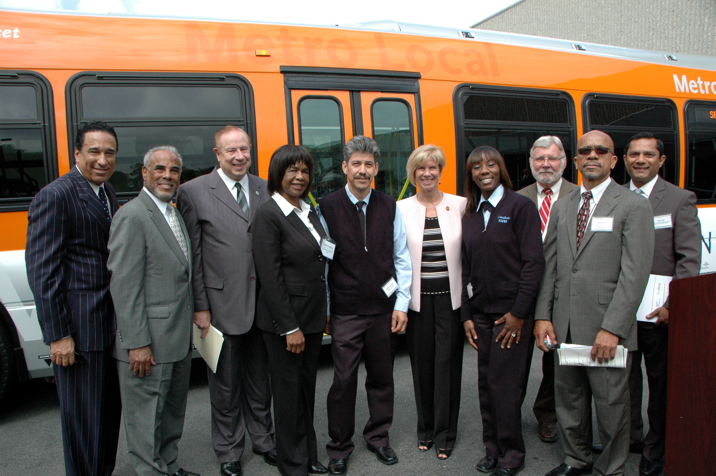 Rep. Janice Hahn (center) and local officials, Metro bus operators and Metro CEO Art Leahy at this morning's event. Photo by Luiz Inzunza/Metro.