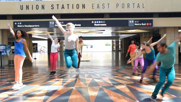 Dancers rehearse at Union Station East Portal in preparation for Red Line Time performances on April 5 and 6