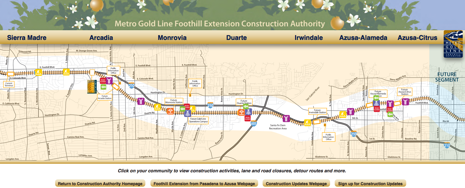 Click on the map above to visit the interactive construction map on the Construction Authority's website.