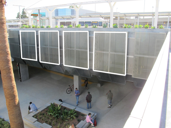 View of artwork location at transit bay concourse wall. Each panel measures approximately 8' x 8' (there are four identical bays with four identically sized panels).