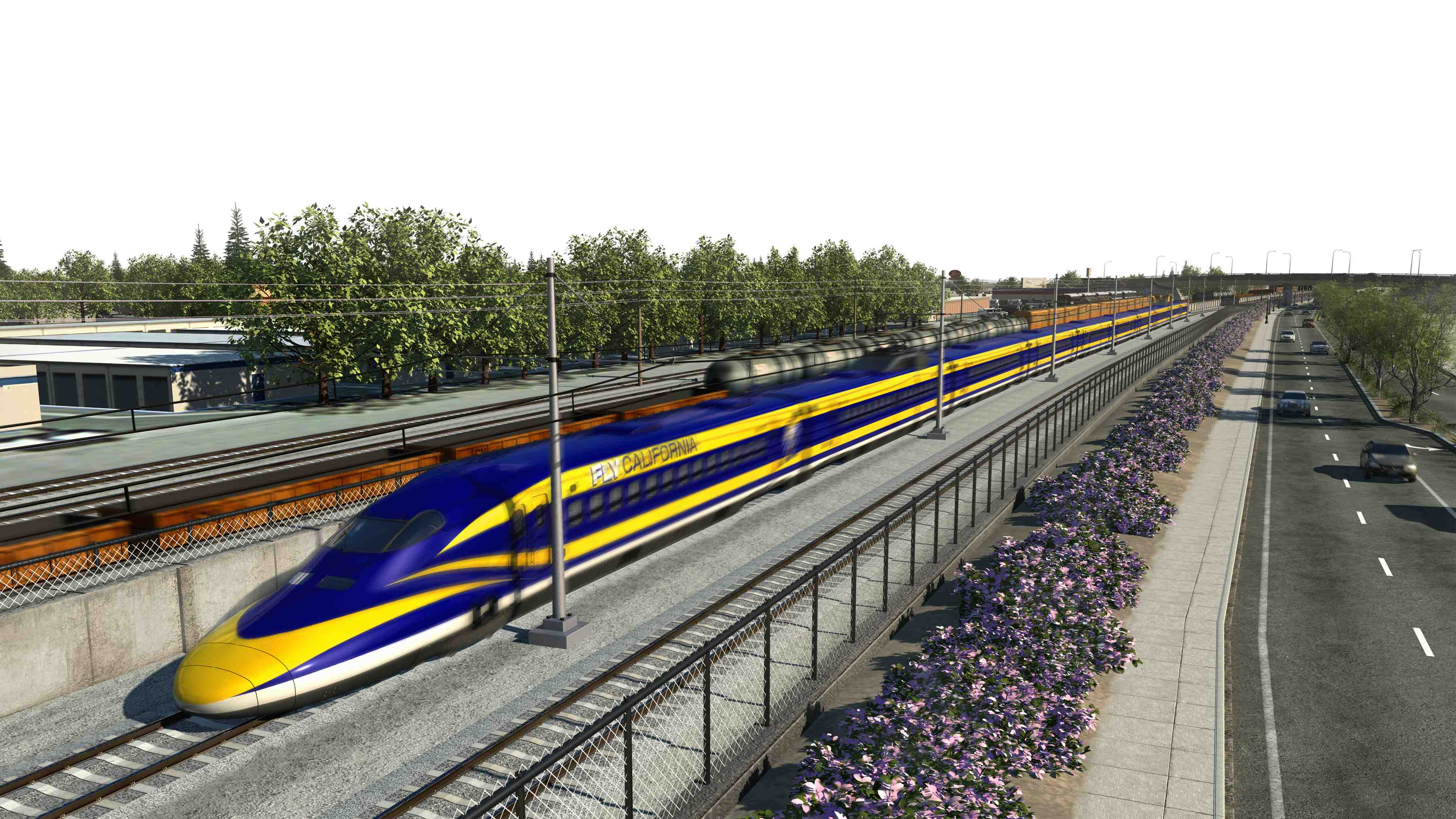 A rendering of a bullet train along Shaw Avenue in Fresno. Source: California High-Speed Rail Authority.
