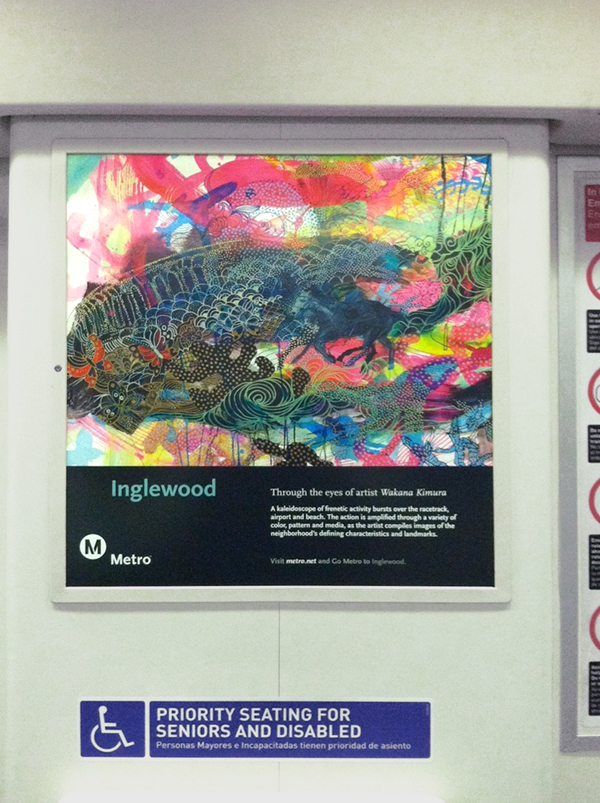 Inglewood poster spotted on a Red Line train, part of the Metro Through the Eyes of Artists poster series.