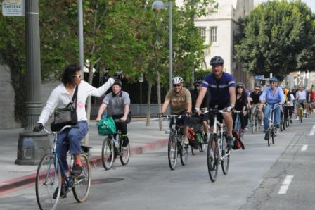 Bike Week L.A. Cometh.  Cyclists ride Downtown L.A. during previous Bike Week L.A.