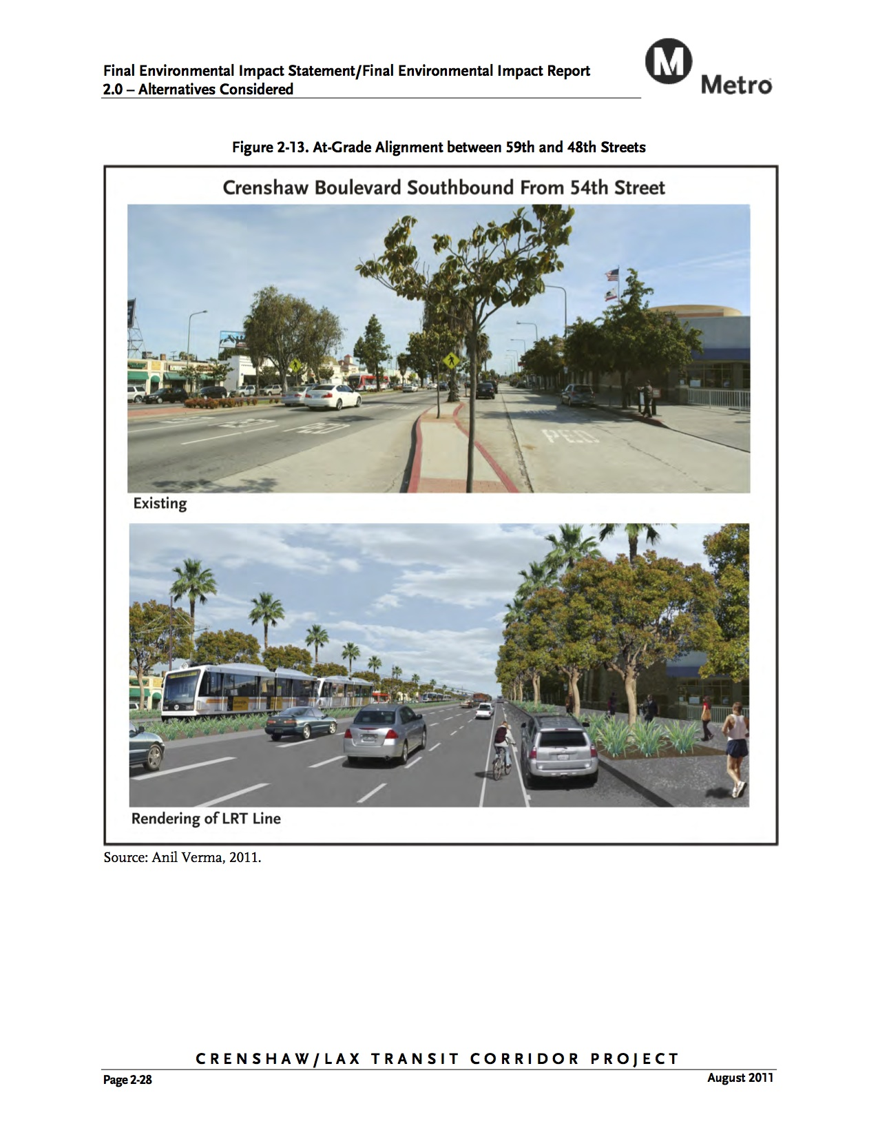 A rendering from the Crenshaw/LAX Line's final environmental document showing the light rail running at grade between 48th and 59th.