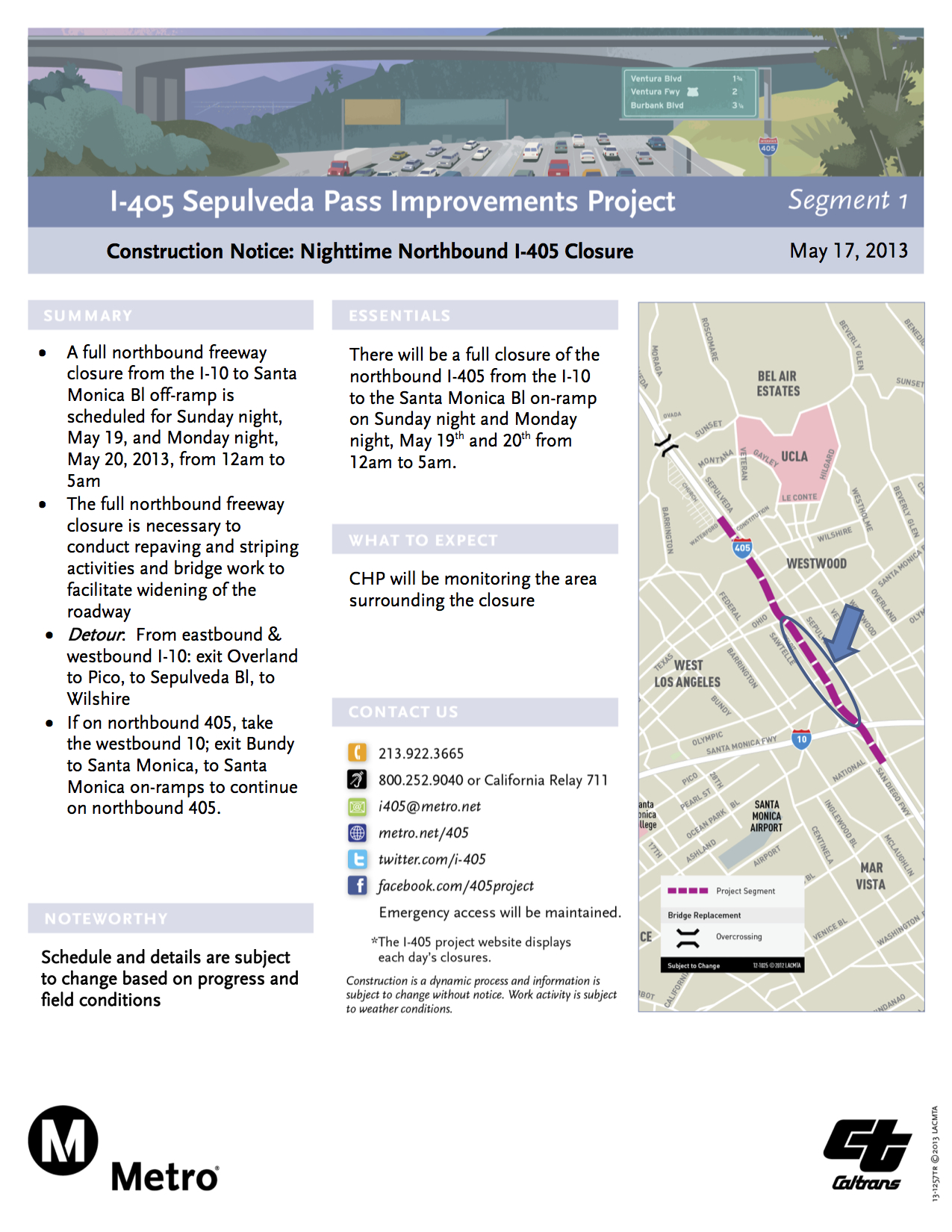5-19-13 Construction Notice-Full Directional Closure NB405