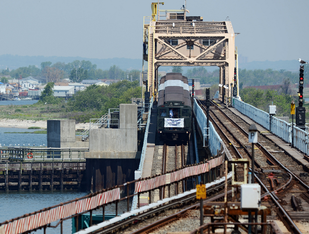 A ceremonial Nostalgia Train crosses the South Channel Bridge on its way to Rockaway Park on Thursday, May 30, 2013, marking the return of regular subway service to the Rockaways after Hurricane Sandy. Photo: MTA New York City Transit / Marc A. Hermann