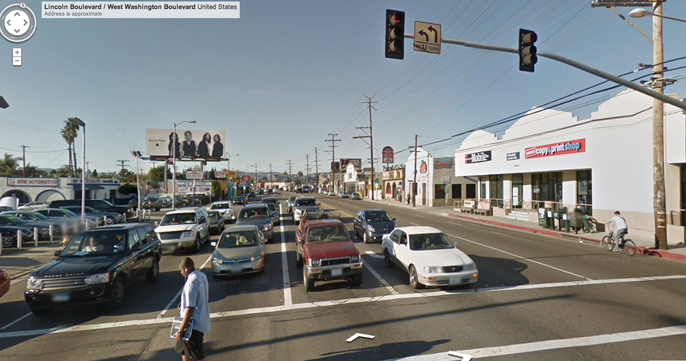Many of Curbed's suggestions are aimed at improving L.A.'s streetscapes for lack of a better term. This is Lincoln & Washington on the Westside. Beautiful! Photo: Google Maps.