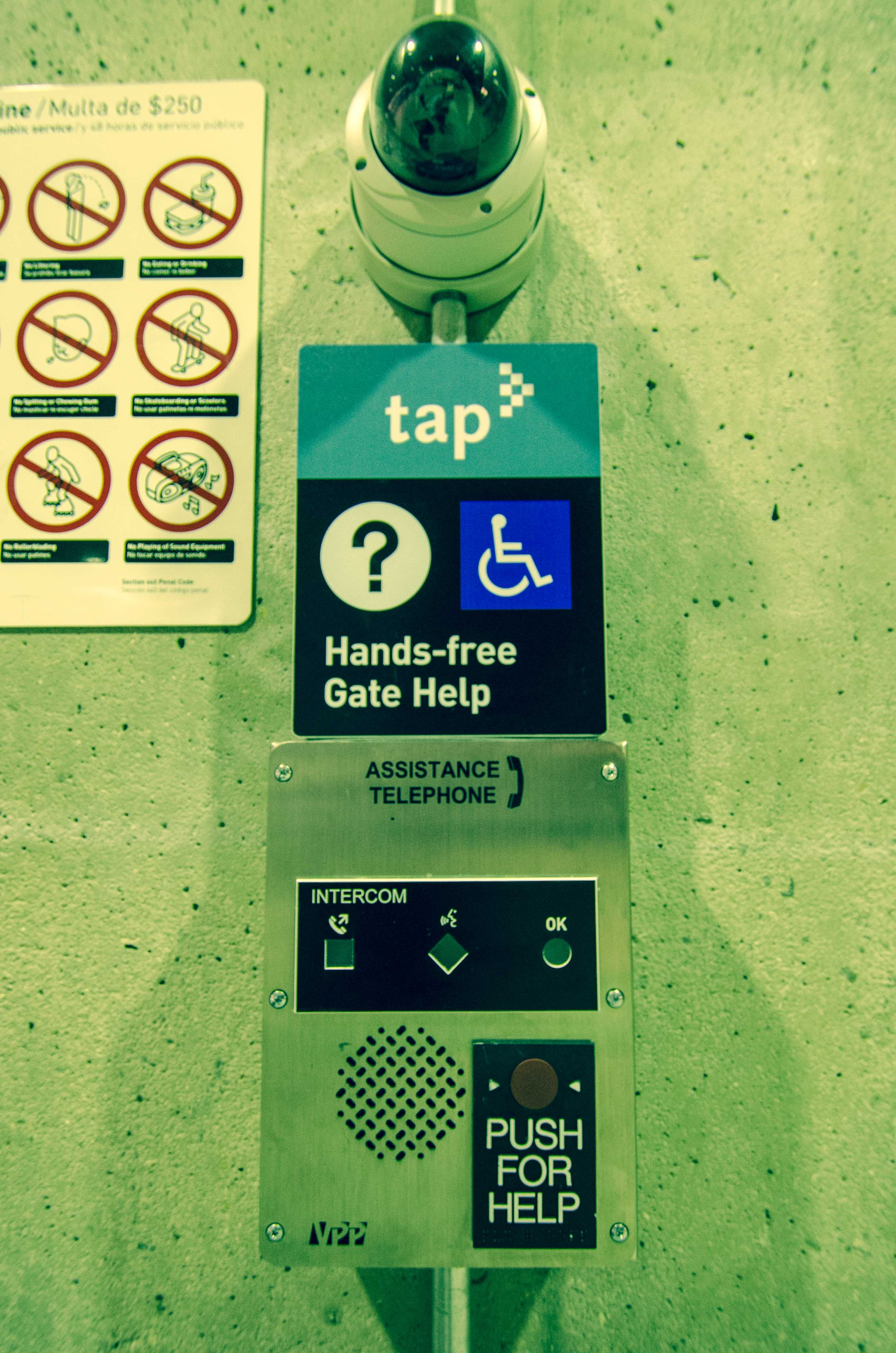 The Gate Help Phone at Union Station's subway station. The phone is located on a concrete column just a few feet before the entrance to the gates. Photo by Steve Hymon/Metro.