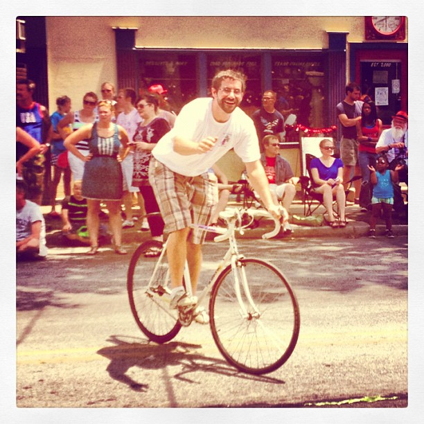 Charles on his bicycle. Photo courtesy of Charles Dandino.