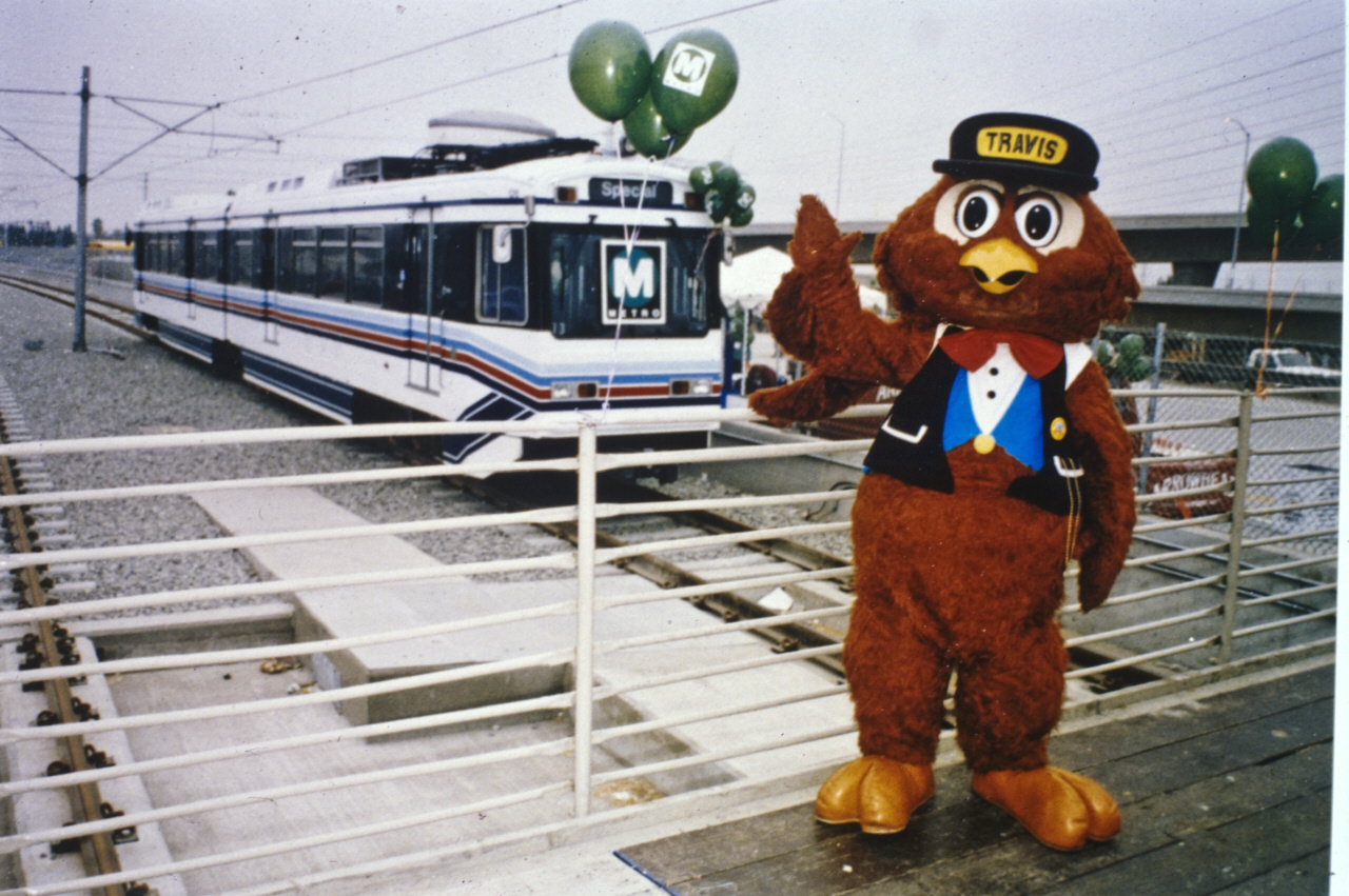 ART OF TRANSIT: Happy 18th birthday to the Green Line, which opened Aug. 11, 1995. That's Travis the Safety Owl, who apparently has since retired. Photo: Metro Transportation Library & Archive.