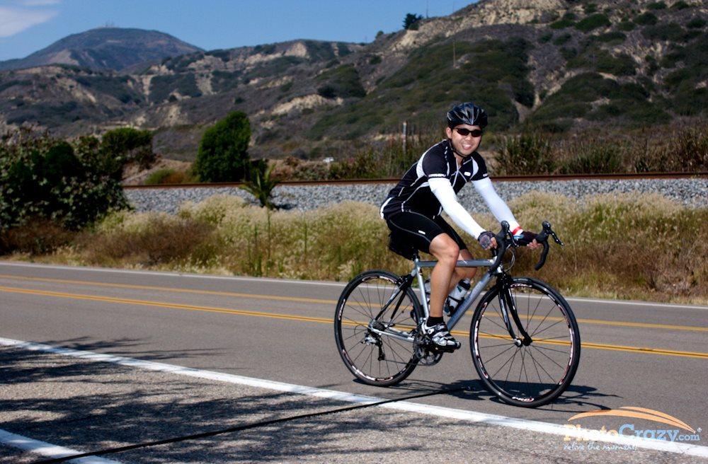 Alan riding his road bike on a 100-mile (century) ride in Ventura, CA.