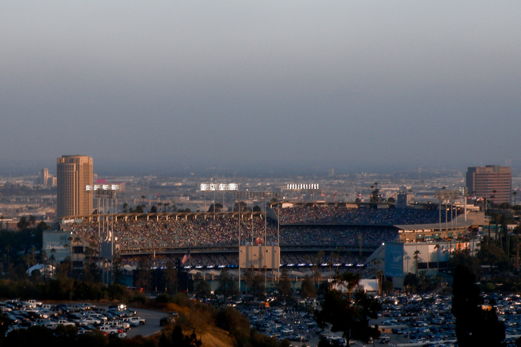 Dodger Stadium with the Metro HQ building in the background. Photo: Mark Luethi via Flickr Creative Commons