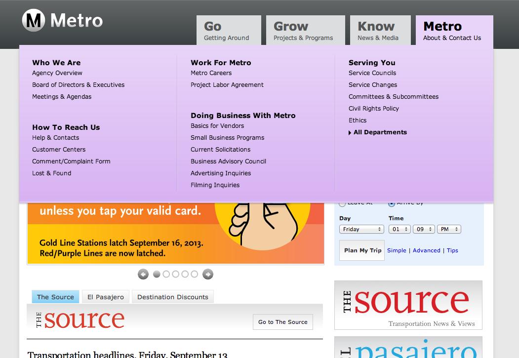 Menu update – METRO tab