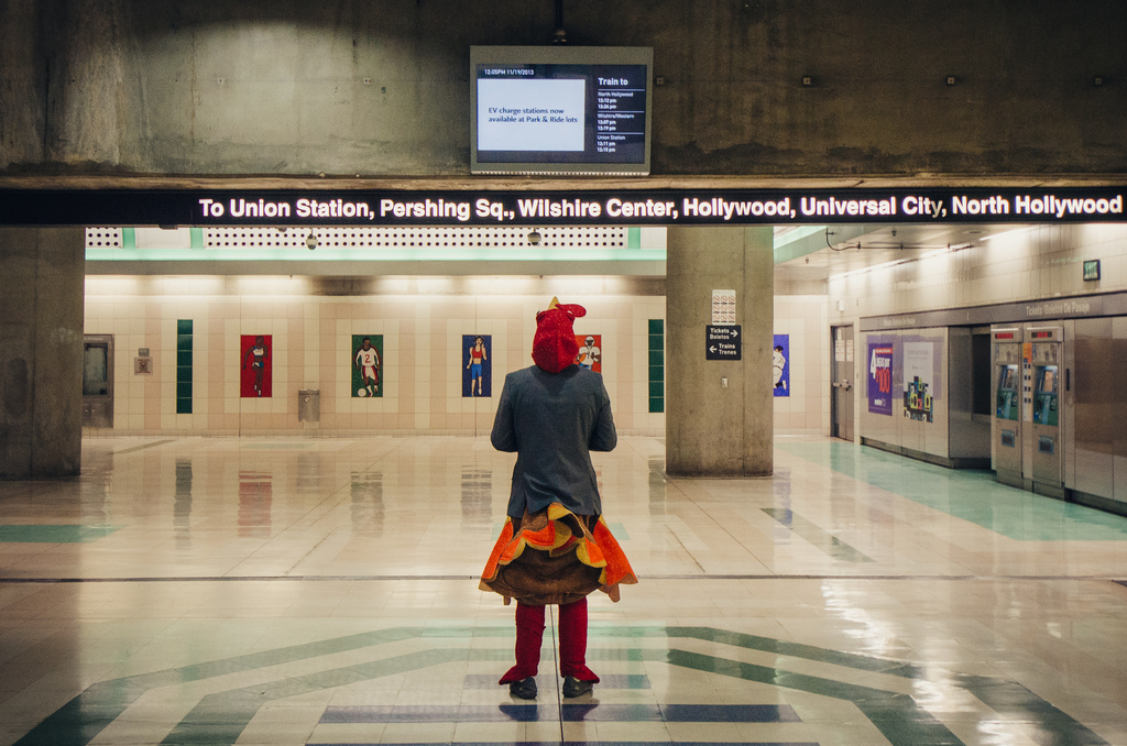 ART OF TRANSIT: Any turkey can ride the Metro, eh? And, btw, Go Metro to the Thanksgiving Turkey Trot in downtown Los Angeles. Click above for details.