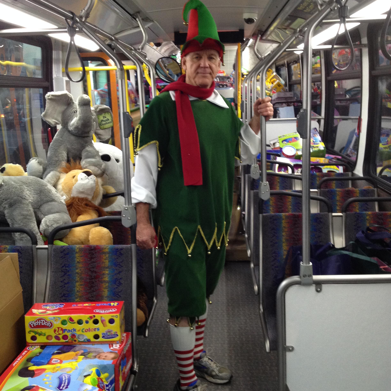 ABC's Garth Kemp all dressed up at the Stuff-A-Bus event. Photo: Jose Ubaldo/Metro