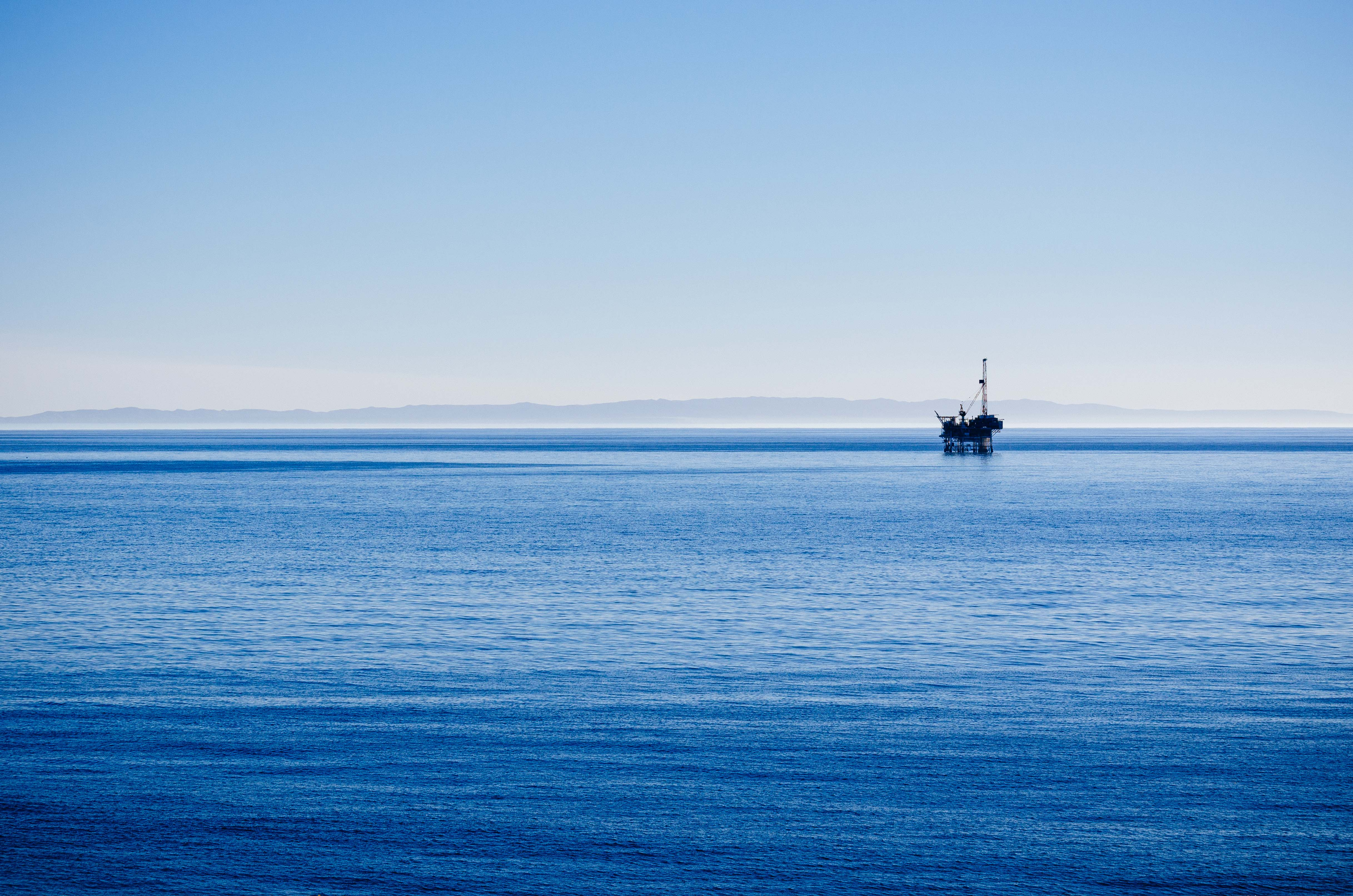 ART OF TRANSIT: An oil rig in the Santa Barbara Channel with one of the Channel Islands in the background (I think Anacapa). Photo by Steve Hymon.