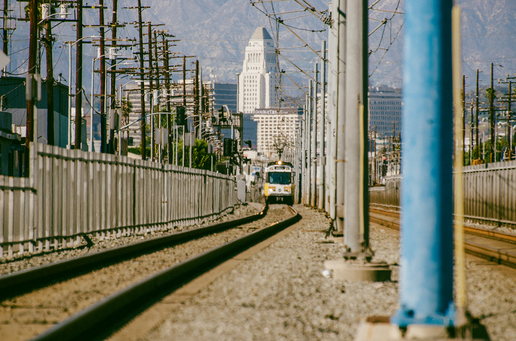 A southbound Blue Line train approaching the Vernon station. Photo by Steve Hymon/Metro.