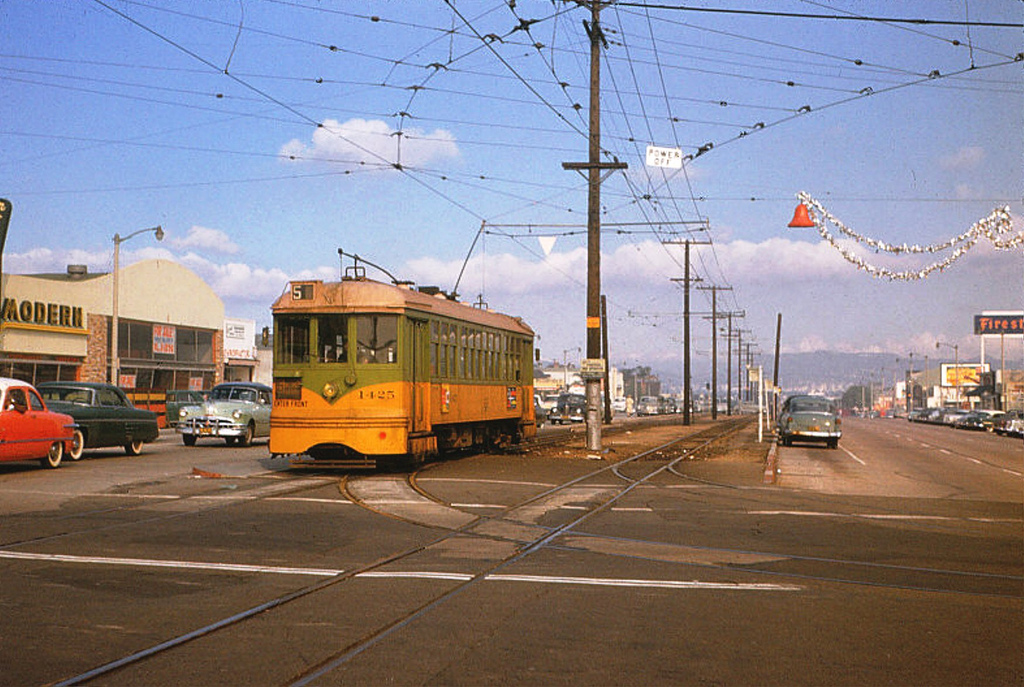 One of the old Yellow Cars at Crenshaw & 54th in 1954. Photo by Alan Weeks via Metro Transportation Library and Archive.