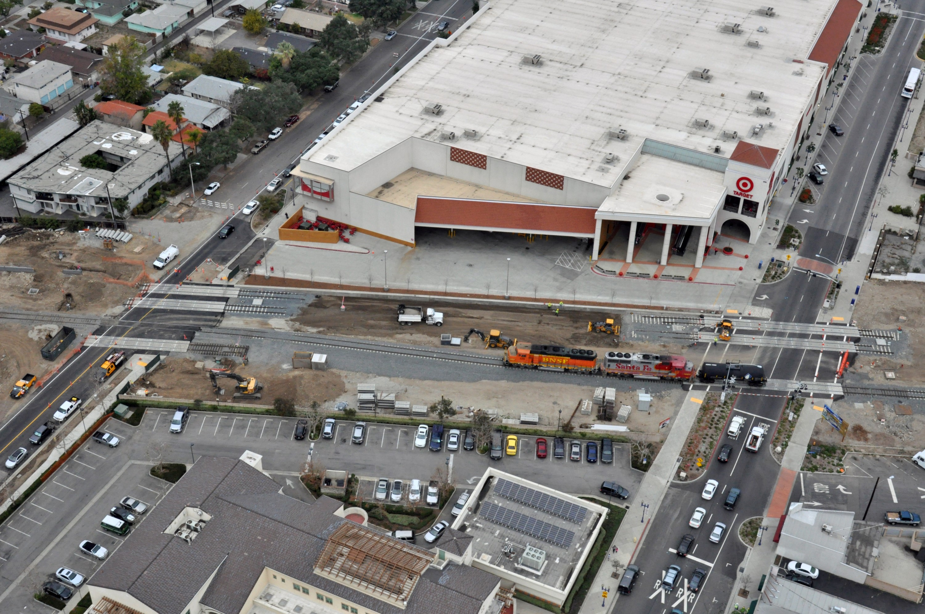 Another view of the old right-of-way -- which the Gold Line will use -- and the new freight track.