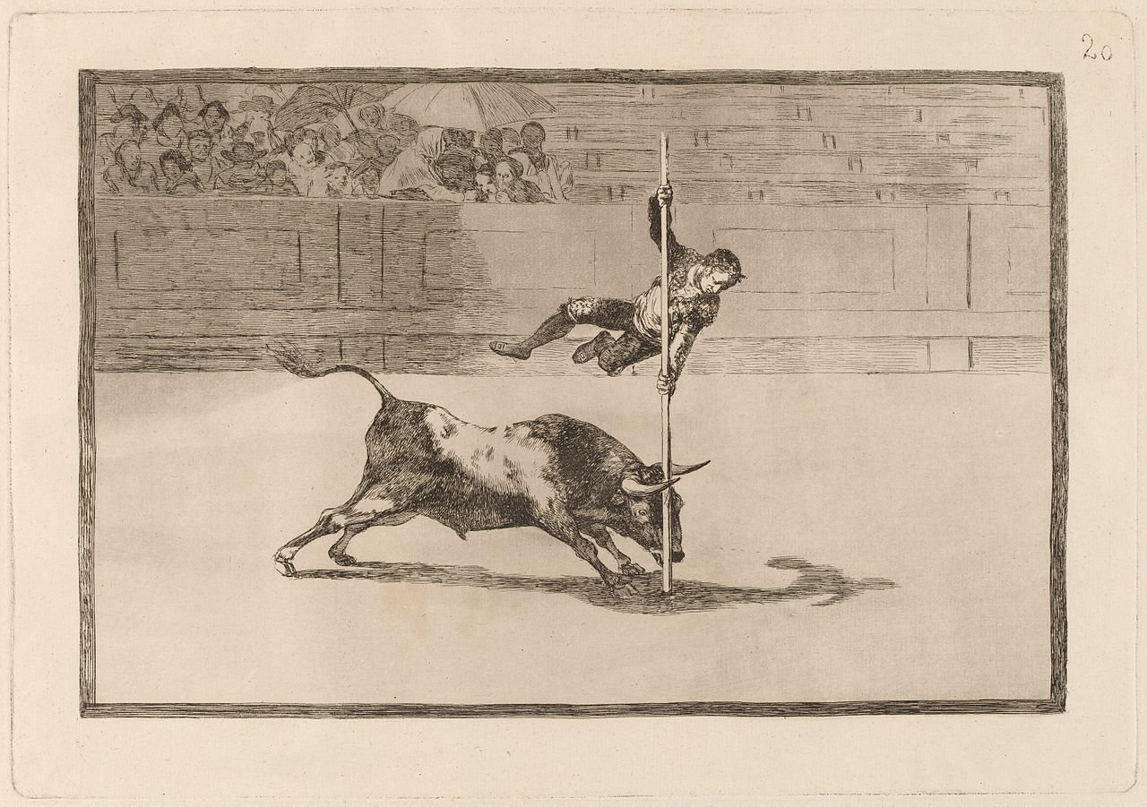 """The Agility and Audacity of Juanito Apinani in the Ring at Madrid,"" Francisco Goya, plate 20 of The Bullfight series."