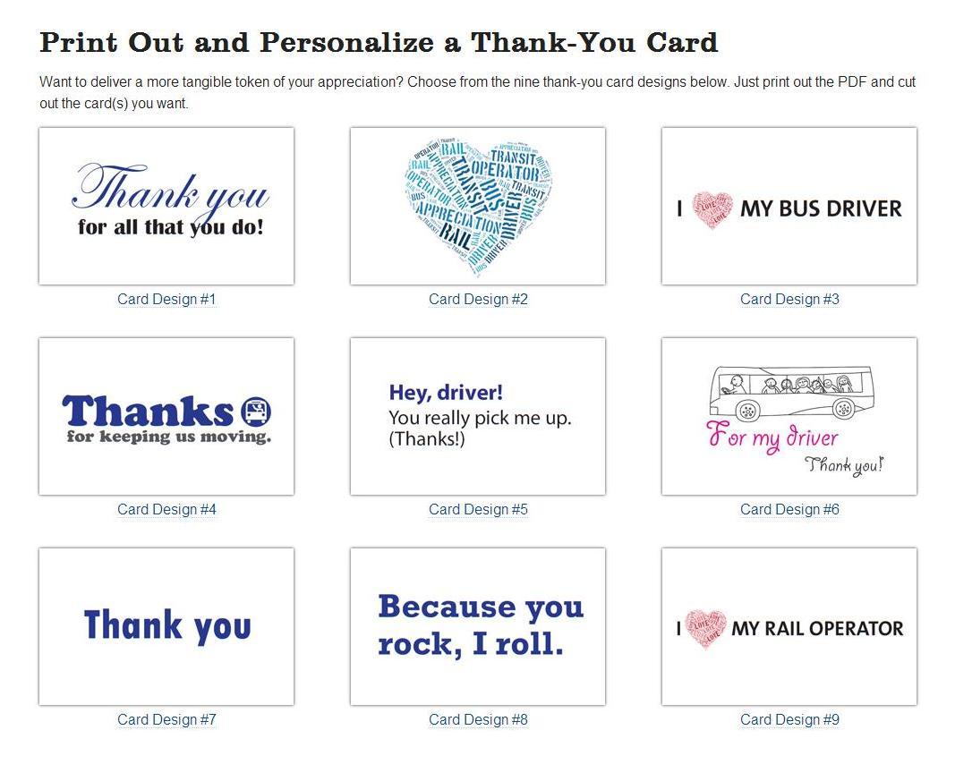 Thank You cards you can print out and personalize! From transitdriverday.org.