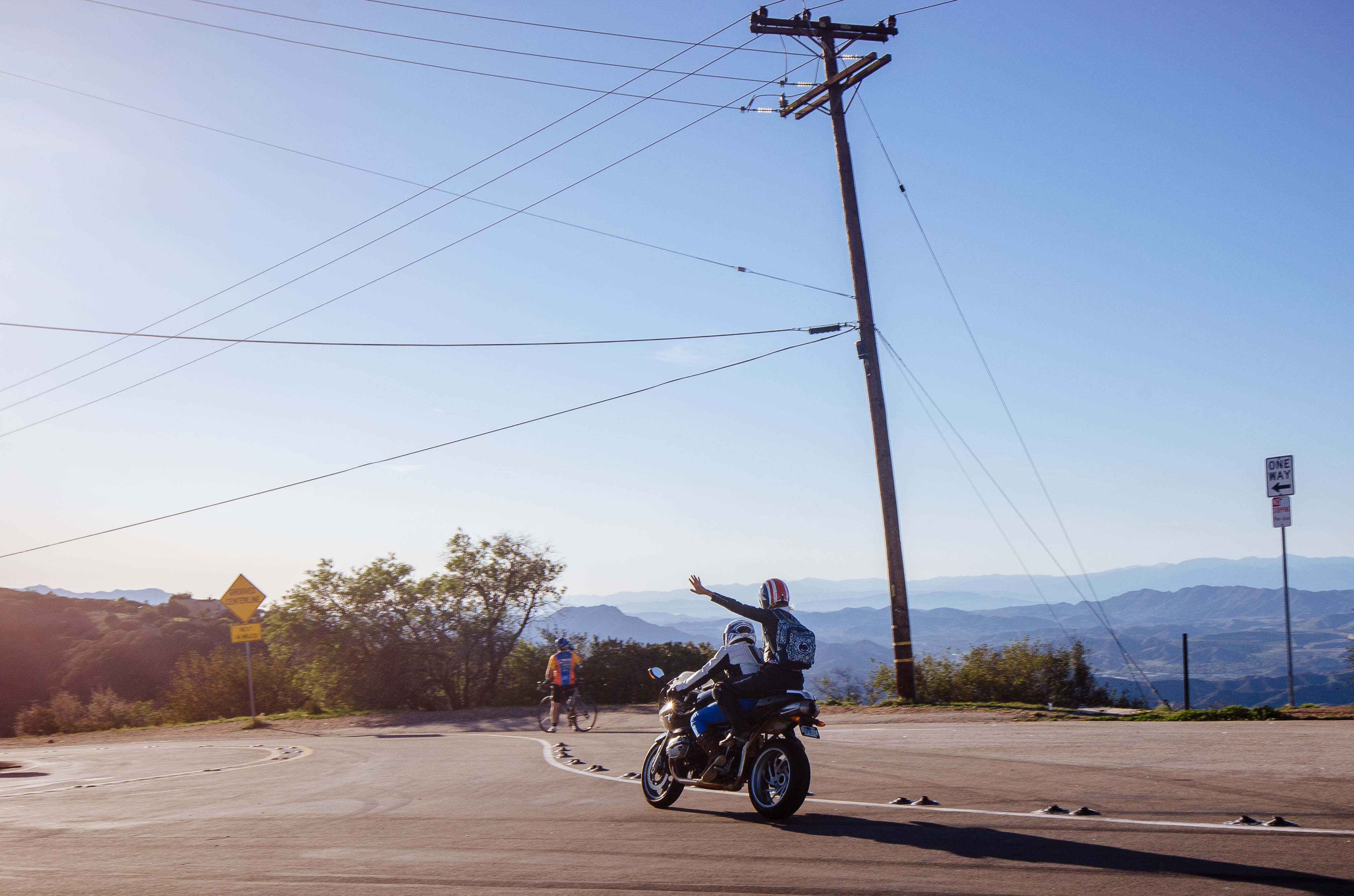 Art of Transit: two different types of two-wheelers at the top of Stunt Road in the Santa Monica Mountains. Photo by Steve Hymon.