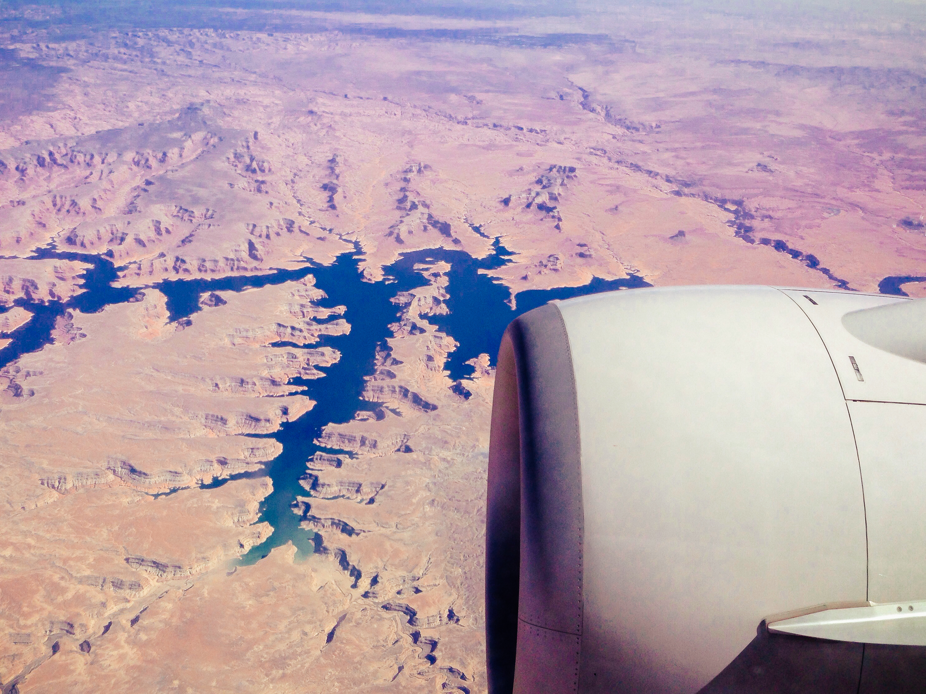 ART OF TRANSIT: That's Lake Powell in southern Utah as seen by yours truly yesterday afternoon. I'm in Ohio this week attending to family business that arose suddenly. I will be posting occasionally this week -- and if it seems like I'm 2,100 miles away, I am. Lake Powell, btw, is about 39 percent full -- but still is holding more than a trillion gallons of water, some of which will end up in So Cal via the Colorado Aqueduct. Photo by Steve Hymon.