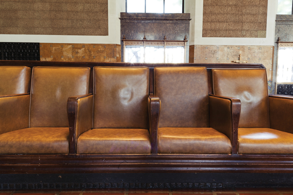 Union Station's original brown leather seating from Angelus Furniture Company, the now-defunct, but previously legendary local furniture shop located in East Los Angeles.