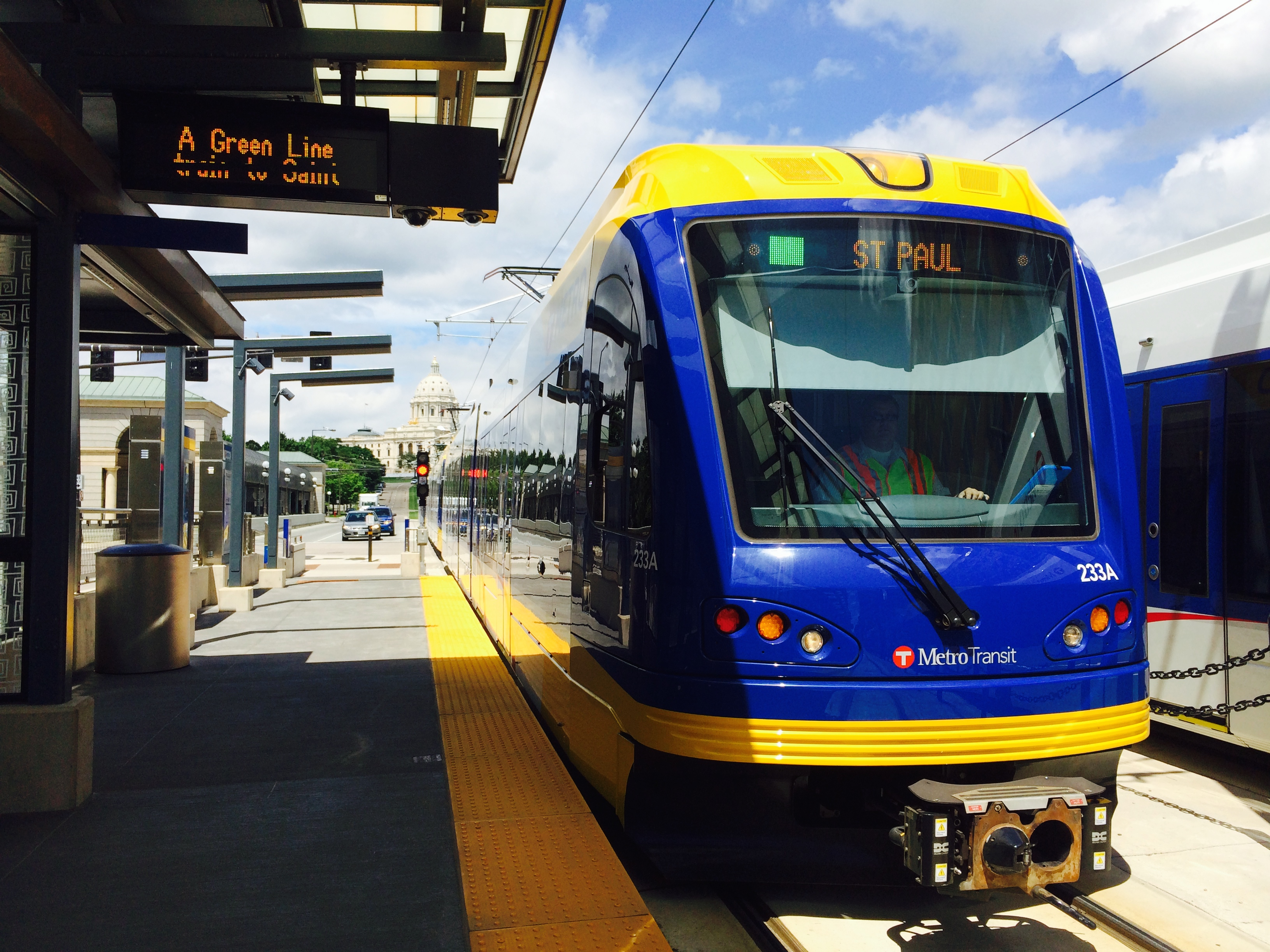 A Green Line train arriving at a station in downtown Saint Paul.