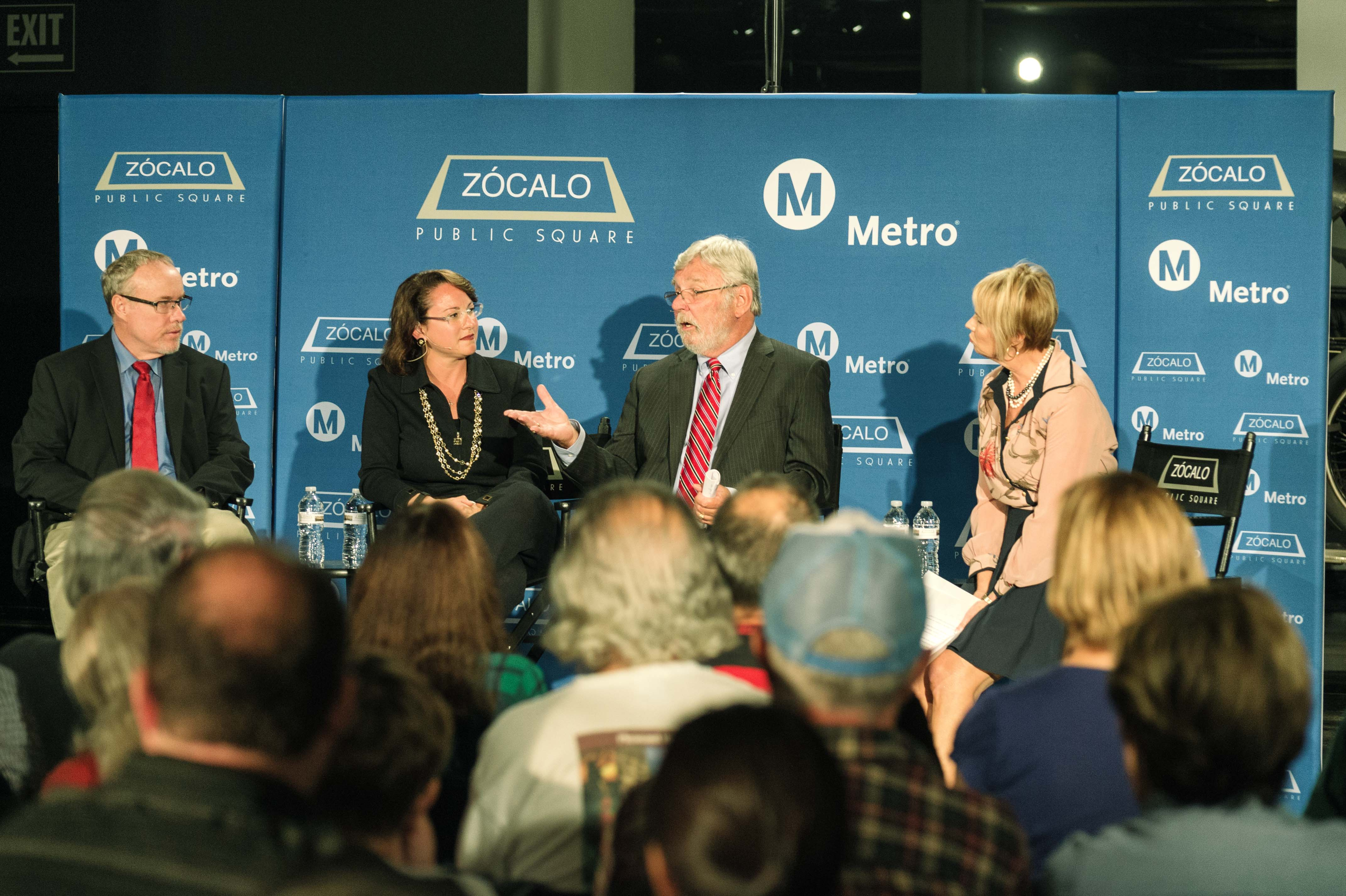 From left, UCLA's Brian Taylor, FAST's Hilary Norton, Metro CEO Art Leahy and KCRW's Kajon Cermac. Photo by Steve Hymon/Metro.