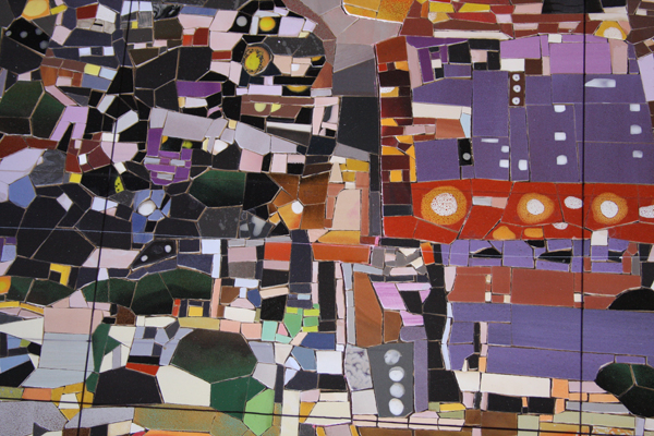 Detail of artwork rendered in ceramic tile pieces.  Photo: Mosaika Art & Design