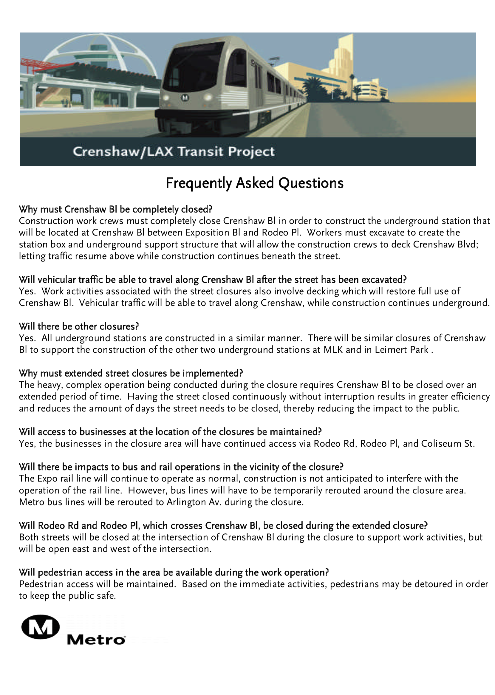 crenshaw closure faq