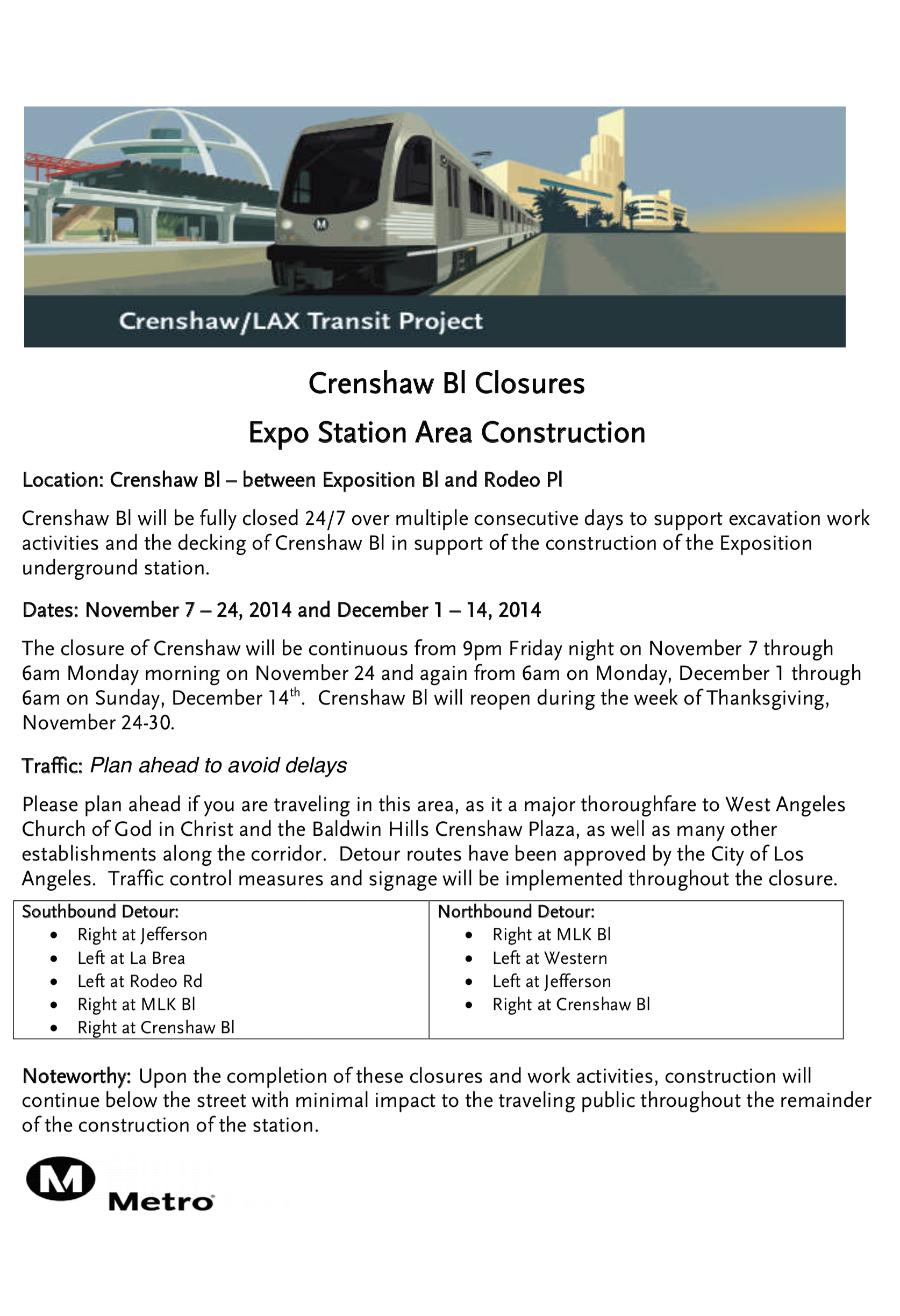 crenshaw closure notice