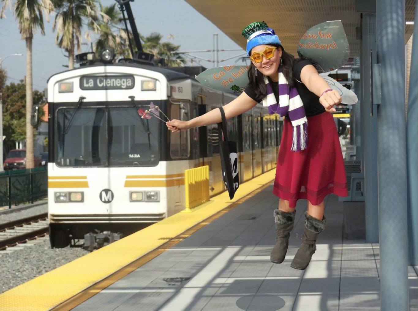 The Metro Holiday Fairy is ready to take the train to new year's parties! Image by Mark Arroyo/Metro