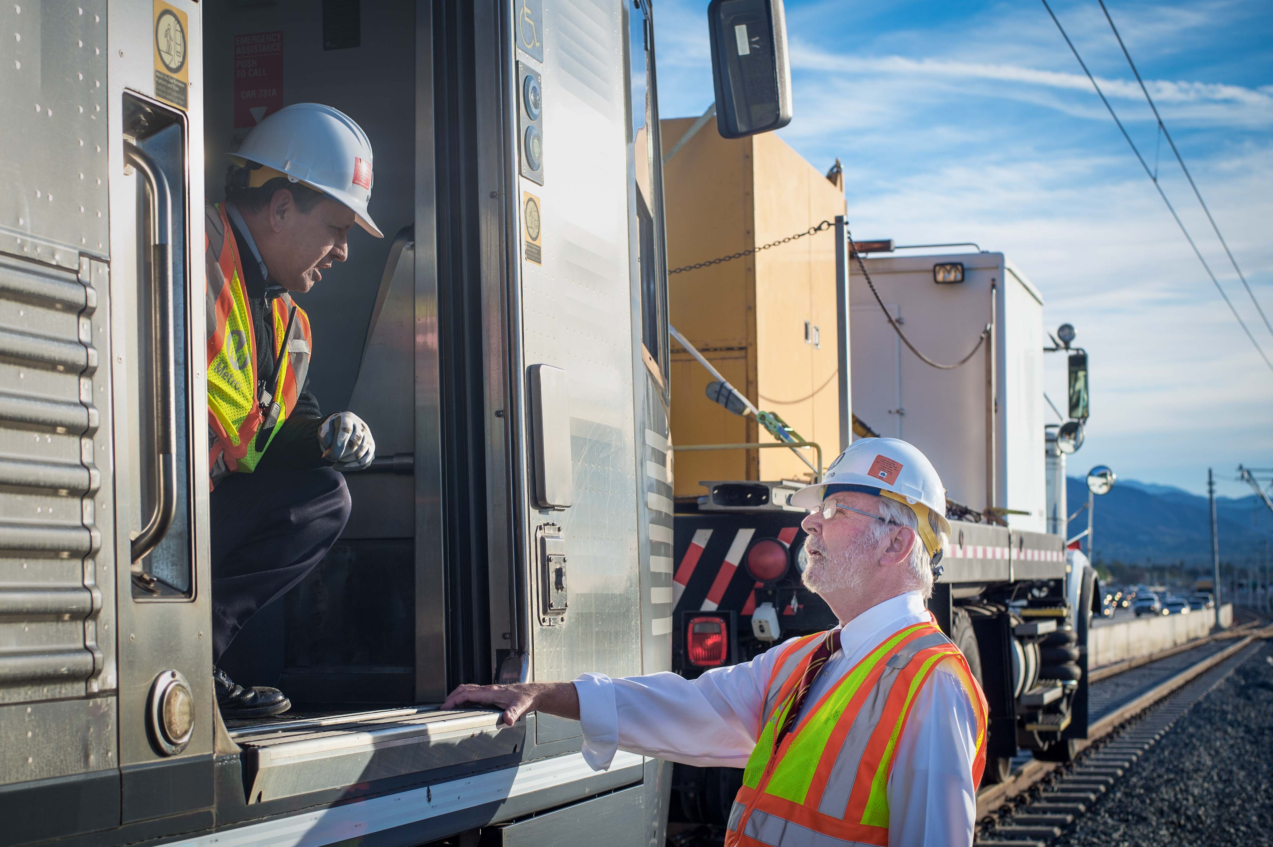 Art, at right, checking out the Gold Line Foothill Extension clearance testing last month. Photo by Steve Hymon/Metro.