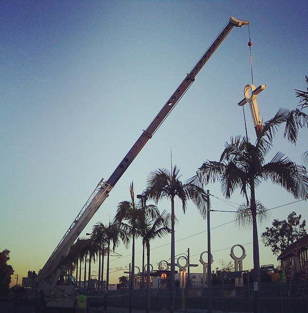 Columns were removed from Willow Street Station last week to make way for a new canopy. Photo: instagram.com/metrolosangeles