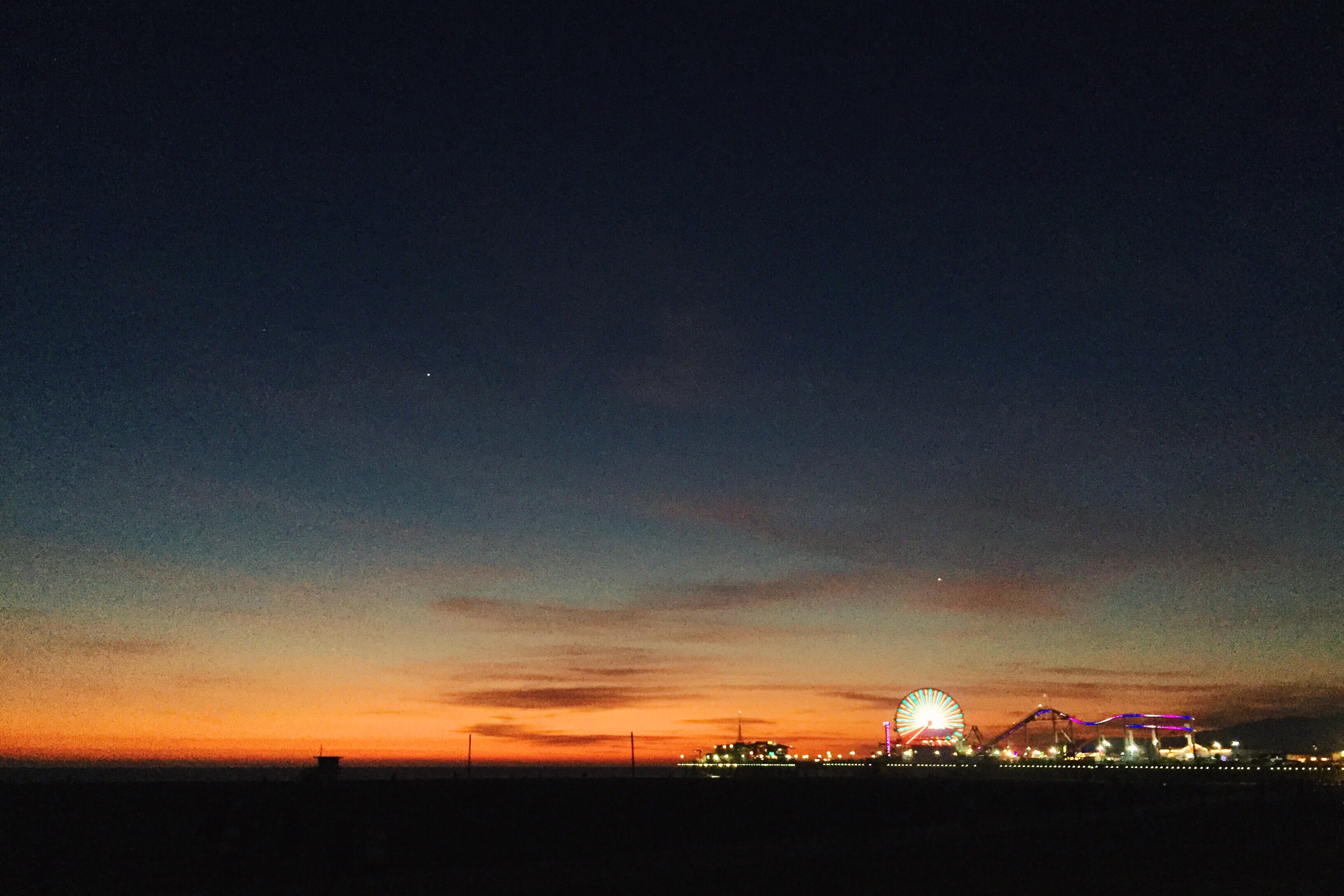 The Santa Monica Pier at sunset last Sunday. Not shown: mind-altering gridlock in DT SaMo. Photo by Steve Hymon.