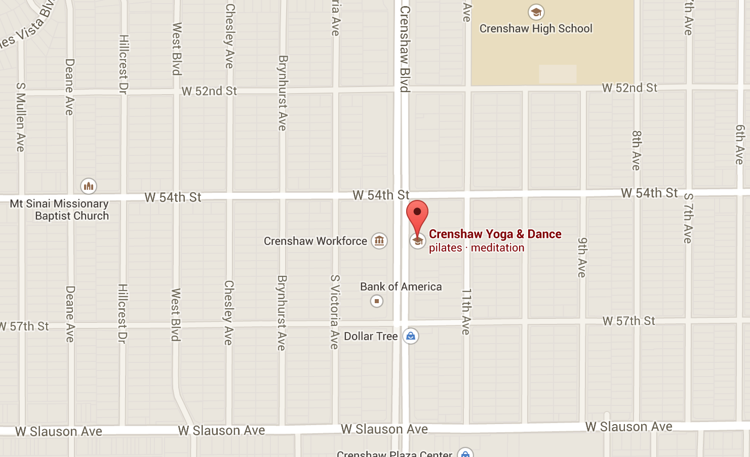 crenshaw yoga dance map